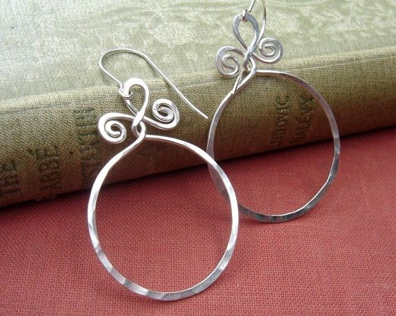 Big Sterling Silver Hoop Earrings Circle With Spiral Twists