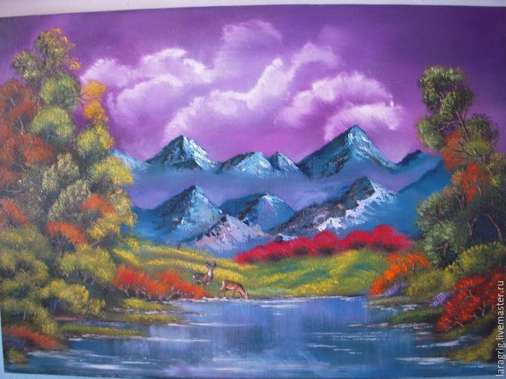 """Купить """"Долина сияющих облаков""""- авторская работа Ларисы Григ - фиолетовый, облака, сияние, небо"""
