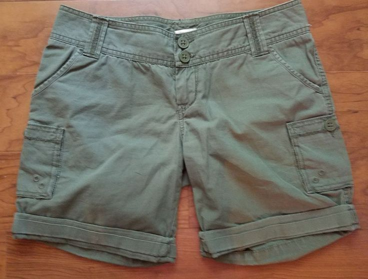 Mossimo Supply Co Junior's Size 3 Army Green Cuffed Cargo Shorts #Mossimo #CasualShorts