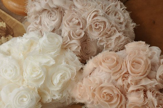 Chiffon Shabby Rosette Wedding Dress Lace Fabric Bridal Dress Alterations DIY Fabric Crafts Supplies Bridal Dress Fabrics Grace and Fashion. $4.99, via Etsy.