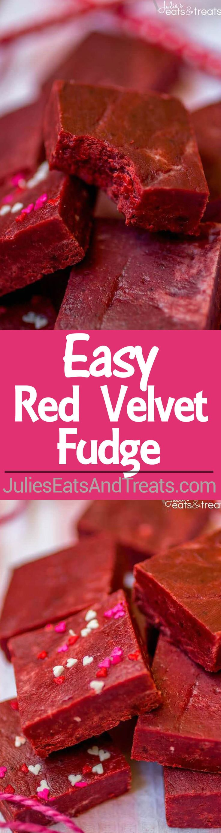 Red Velvet Fudge Recipe - This super easy fudge recipe comes together in minutes and melts in your mouth! It's the perfect addition to your Valentine's Day dessert spread.