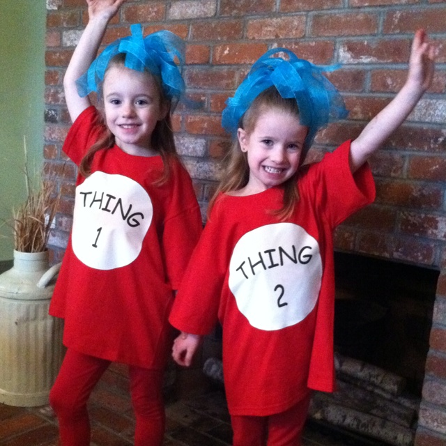 My twinkies in homemade Thing 1 and Thing 2 t-shirts. I used printable iron on paper. I also made big blue hair bows by just tying ribbon onto hair elastics.