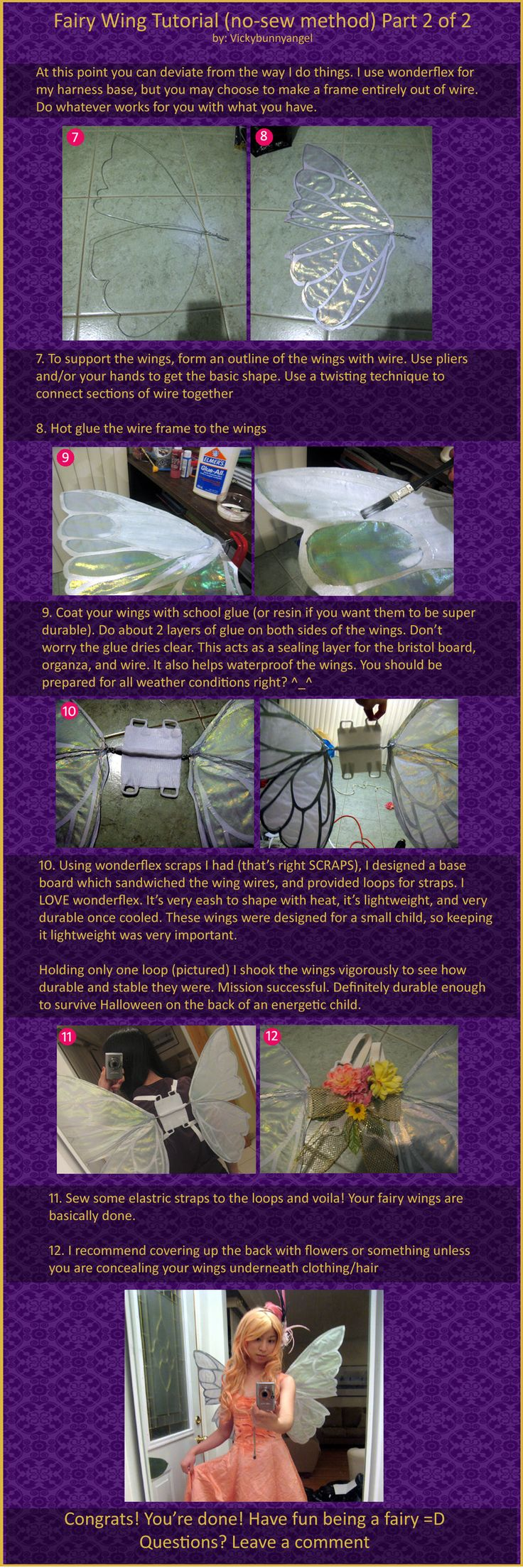 No Sew Fairy Wings Tutorial Part 2 of 2 by vickybunnyangel on deviantART