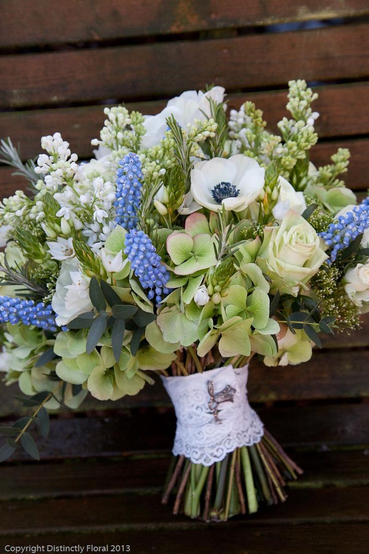 124 best muscari grape hyacinth wedding flowers images on hints of blue muscari in an otherwise green and ivory wedding dhlflorist Choice Image