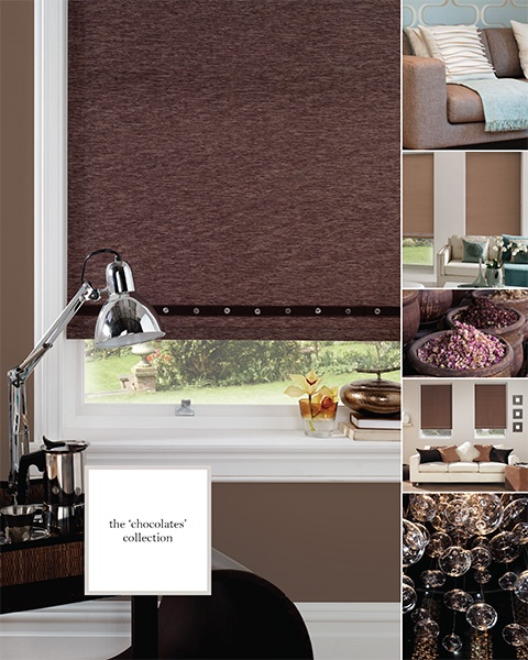 Chocolate brown roller blind with eyelets