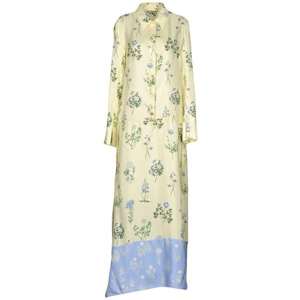 Dondup Long Dress ($525) ❤ liked on Polyvore featuring dresses, light yellow, long sleeve dress, floral print long sleeve dress, floral print long dress, beige long sleeve dress and floral printed dress