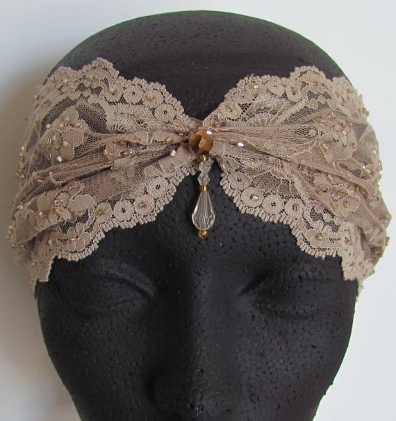 Beaded Lace Headband, Art Deco Headband, 1920s Headband, Bridal Hairband, Wedding Headband, Beige Headband