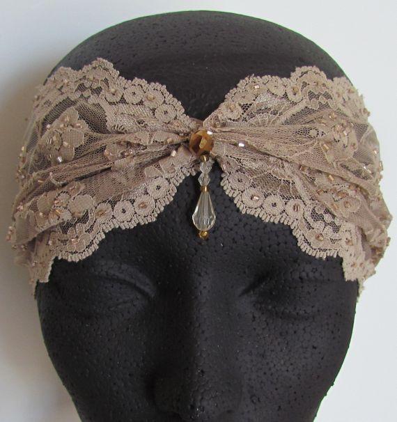 Beaded Lace Headband, Art Deco Headband, 1920s Headband, Bridal Hairband, Wedding Headband, Beige Headband