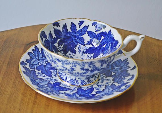 Coalport Blue And White Cup And Saucer Pattern 4891 Blue