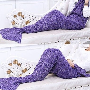 Mermaid Tail Design Purple Knitted Blanket on sale only US$23.49 now, buy cheap Mermaid Tail Design Purple Knitted Blanket at lulugal.com