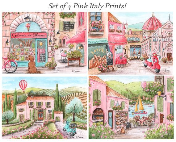 Italian Girl prints - just adorable and perfect for your travel or Italian themed nursery or bedroom. There are 4 prints in this set - including a gelato shop that can be personalized.