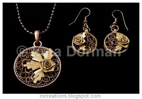 Quilled jewelry: pendant and earrings