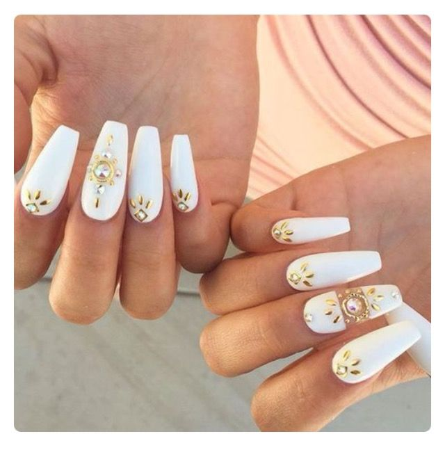 56 best nail ideas images on pinterest nail designs acrylic white coffin nails with gold nail jewels prinsesfo Choice Image