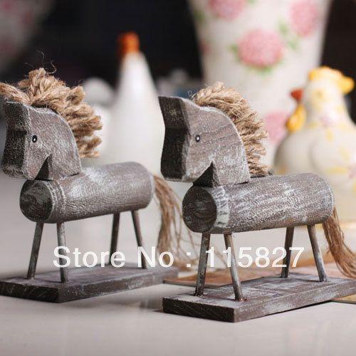 min order$20( gemengde items) houten paard handwerktechnieken granny chic bruiloft gift huis of winkel decoratie(China (Mainland))