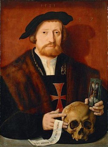 Portrait of a knight, 1531 // Barthel Bruyn the Elder; Inscription: VIVE: MEMOR. LETI. FVGIT. HORA.