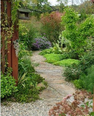 I don't know if this is a permaculture garden or not, but I see edibles, and I like the look- fecund and plenteous, but not too shaggy