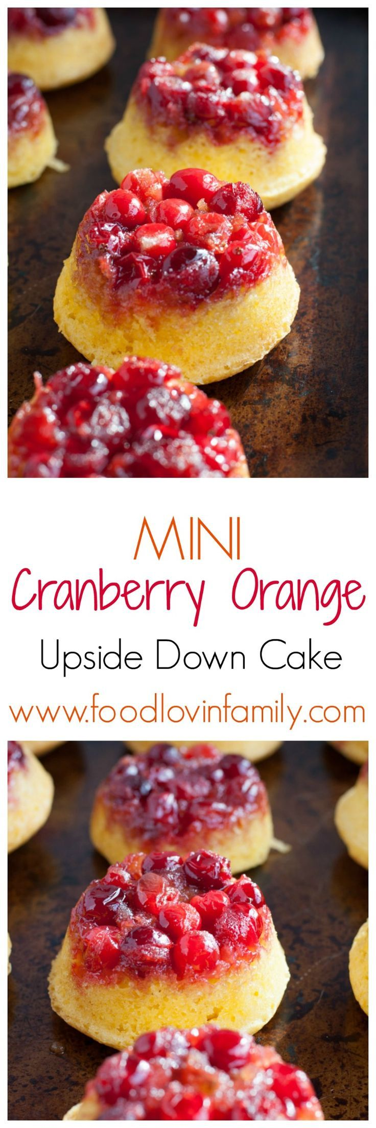 Mini cranberry orange upside down cakes are a great dessert for a party or holiday gathering. Made with fresh or frozen cranberries, brown sugar, butter and an orange cake. | http://www.foodlovinfamily.com/mini-cranberry-orange-upside-down-cakes/