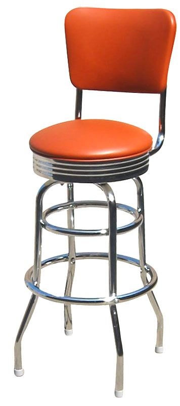 Retro Diner Counter Stool. There are so many options out there for this style stool! After much research, I went with the taller back and chrome edging around seat. Very sturdy & great for children - they can climb up by themselves with no danger of tipping stool! Very happy with my choice!!
