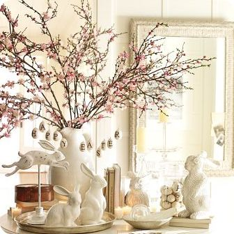 Vintage Silver trays and white bunnies make a beautiful Easter display.