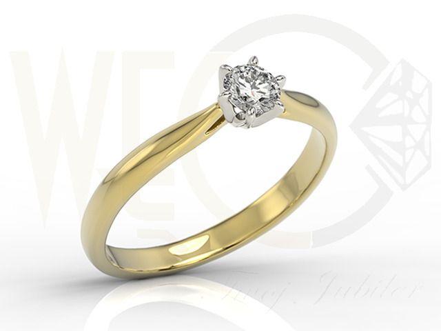 Pierścionek zaręczynowy z białego i żółtego złota z diamentem/ Engagament ring made from white and yellow gold with diamond/ 5 380 PLN #engagament #ring #gold #diamond
