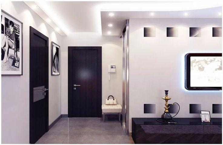 Двухуровневый потолок с точечным освещением в маленькой прихожей