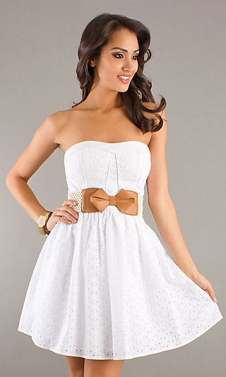 MY-5188EL1D: Short White Strapless Dress with Belted Waist