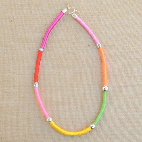 Carnival Pink and Yellow Cord Necklace