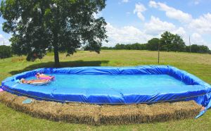 Hay bale pool.I would love to make a small one that could be set up/torn down and set up again another time!