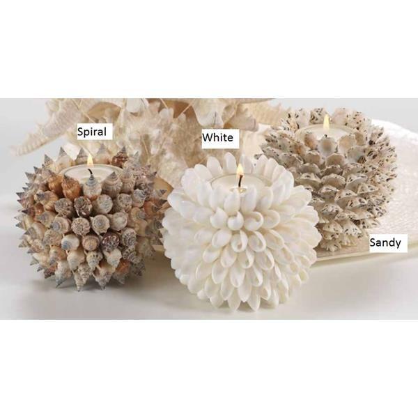 свечи и-осветительные-аксессуары-4inch Круговая Seashell ПодсвечникПриродные морские раковины держатель для свечи с стеклянной вставкой для использования с Tealight свечи. Природные ракушек окружают стеклянную вставку , чтобы создать уникальный пляжный акцент. Либо в чисто белый или цвет песка: темный и белый смешанный в оболочках стиле песка создает песчаный цвет.