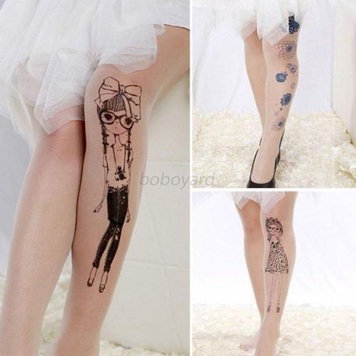 Women Tattoo Pattern Sheer Pantyhose Socks Animal Printed Tights Stockings