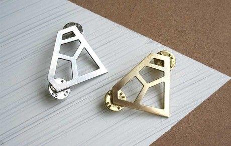 geometrical shaped designer pin brooch
