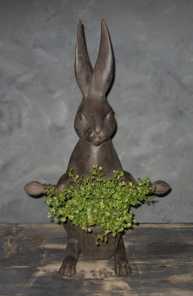 Big Bunny Rabbit Statue & Basket*Primitive/French Country ...