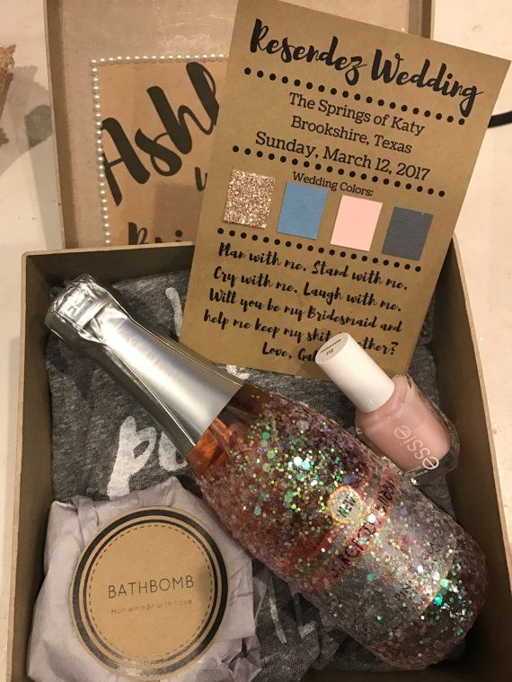 Customizable Will you be my Bridesmaid/Maid/Matron of Honor Gift Box. Perfect to mail to your girls that will stand by your side on your special day! Includes: -Customized name and title ask (bridesmaid, flower girl, maid/matron) -Bath bomb -Nail polish -Wedding details (customizable. normally includes - wedding date, location, wedding color scheme, bridal party responsibilities, etc) -Customizable additions (champagne, sparkly champagne, wine/champagne glasses, t-shirts, coozies, hats…