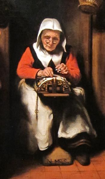 2 of 2 Berthi Smith-Sanders. The old lace-maker - 37.5 x 35 cm dating 1655, the woman on this panel is concentrated busy with lace.. In the seventeenth century people regarded this kind of hard-working women as the paragon of virtue. On the table beside the woman is a still life of earthenware pots and jugs, with a bundle of twigs tied together and a bundle of kindling. The right of the woman hangs a basket of eggs. (See full picture on this board) Translated from Dutch by Google Translate