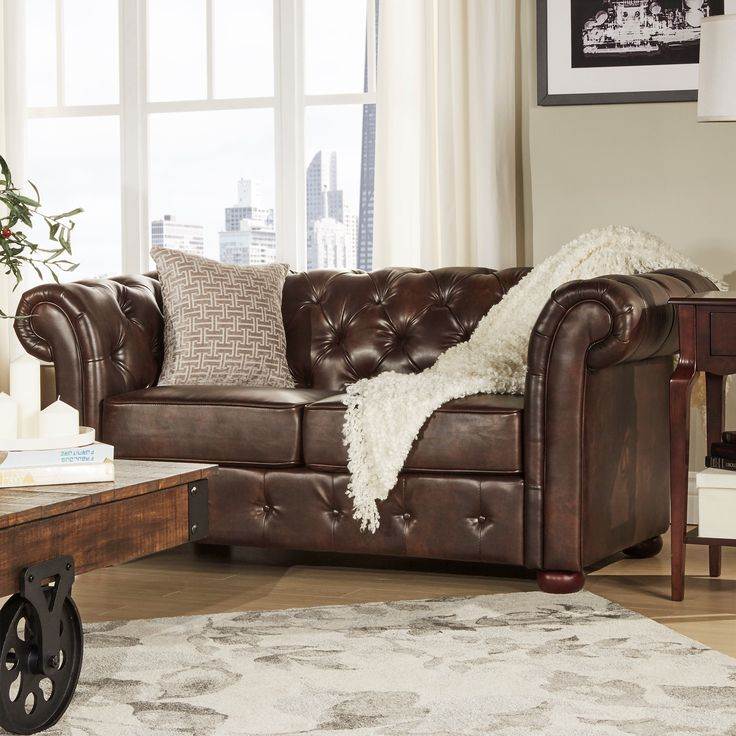 tribecca home knightsbridge brown bonded leather tufted scroll arm chesterfield loveseat ideas. Black Bedroom Furniture Sets. Home Design Ideas