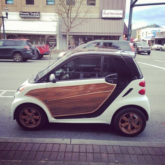 Yeah, that's a woodgrain accent. Sometimes you want to stand out. Standing out with the smart passion coupe is easy. Meet the artisanal smart. Not only is it a good-looking city car, but its fun to drive. Photo by @hhuston258 on Instagram.