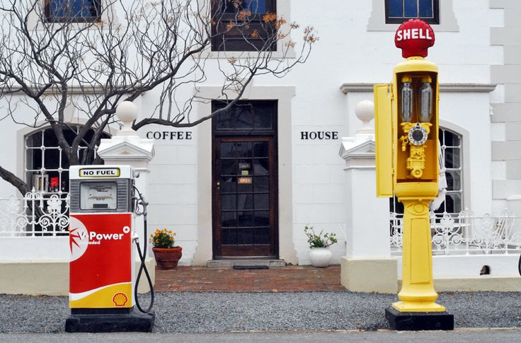 The cute coffee shop and petrol station in main road Matjiesfontein. From the (supposedly) haunted Lord Milner Hotel to the museums and red bus tour - what to do in the tiny Victorian village of Matjiesfontein in South Africa's Western Cape.