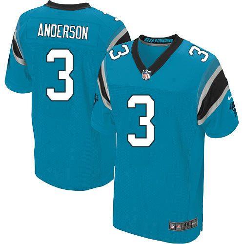Men Nike Carolina Panthers #3 Derek Anderson Elite Blue Alternate NFL Jersey Sale