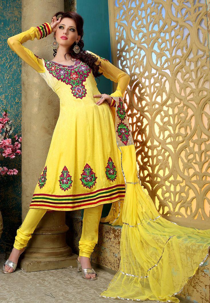 Shaded #Yellow Faux Crepe #Jacquard Churidar #Kameez @ $56.82