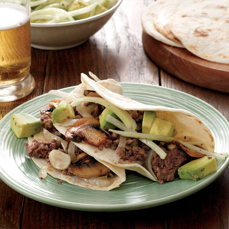 Beef And Mushroom Tacos With Avocado Salad Recipe
