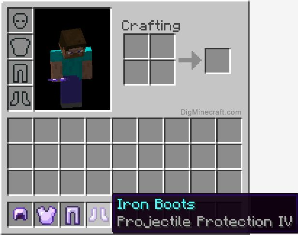 Projectile Protection enchantment in Minecraft reduces the damage from projectile attacks such as arrows, ghast fireballs, blaze fire charges