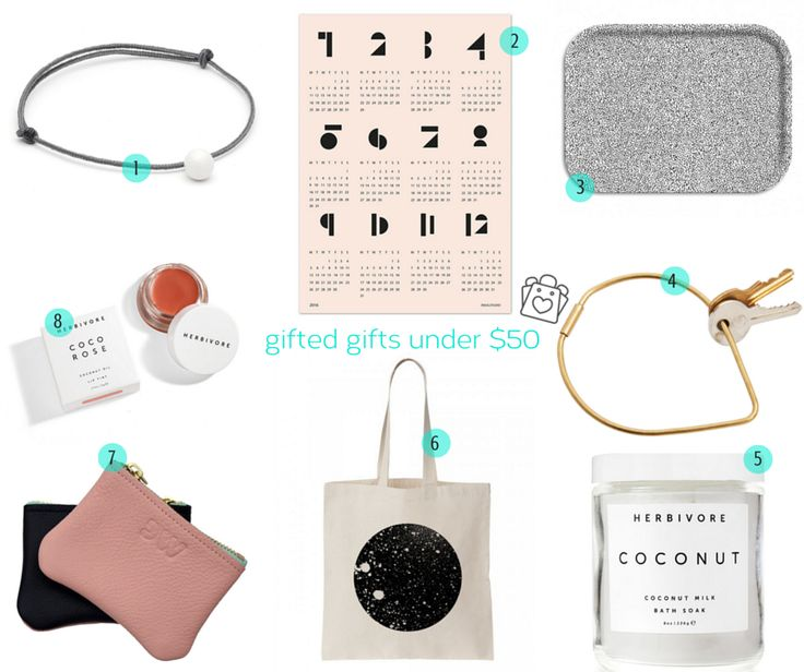 gift it! amazing things, and all coming in at $50 or less! // 1▷mini pearl cord bracelet @Louise Kragh Jewelry 2▷toy blocks 2016 wall calendar @SNUG.STUDIO // 3▷dotty tray @Oelwein / Les images 4▷'drop' contour key ring @Areaware 5▷coconut milk bath soak @HERBIVORE BOTANICALS 6▷moon tote @Oelwein / Les images 7▷two-tone leather cardholder #daniellewright 8▷coco rose lip tint @HERBIVORE BOTANICALS