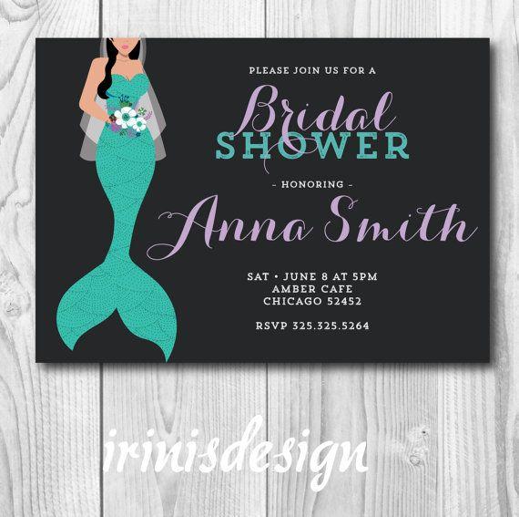 Mermaid Bridal Shower Invitation | turquoise teal bride wedding party chalkboard floral lavender 115
