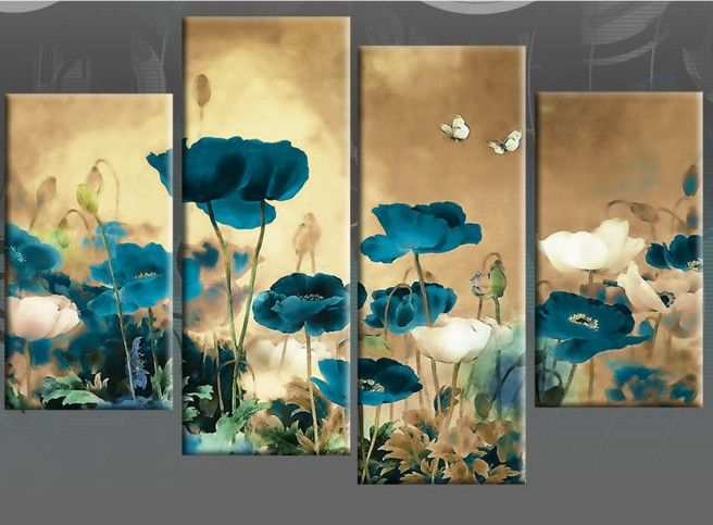 multi canvas paintings | ... CANVAS ART CHINESE FLORAL FLOWER SPLIT MULTI 4PC PICTURE OIL PAINTING