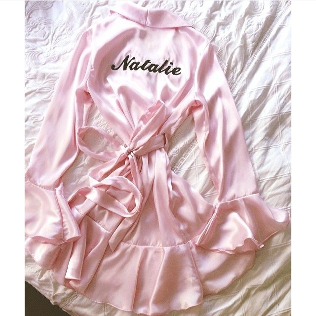 Cherish Her Kiss Robe_ Personalised with embroidery of your choice of text and colour. The perfect birthday present, gift, pamper party robe, bridal party robe.