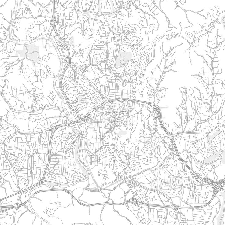 Vector Map Asheville, North Carolina, USA, bright outlined vector map