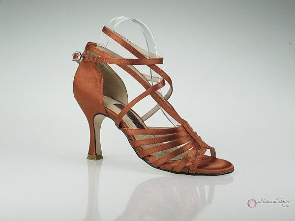 Natural Spin Latin Shoes(Open Toe):  M1175A_DarkBrown2