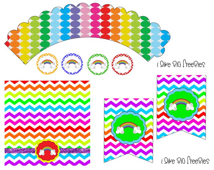 Free Rainbow Party Printables Cupcake Wrapper Bag Topper