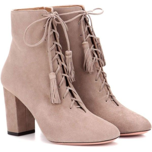 Aquazzura Jourdan 85 Suede Ankle Boots (605 NZD) ❤ liked on Polyvore featuring shoes, boots, ankle booties, neutrals, ankle boots, short boots, brown boots, suede ankle booties and brown bootie