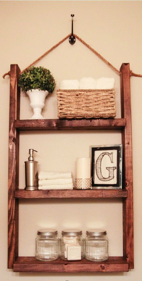 #DIY Easy Bathroom Shelf I LOVE this idea!